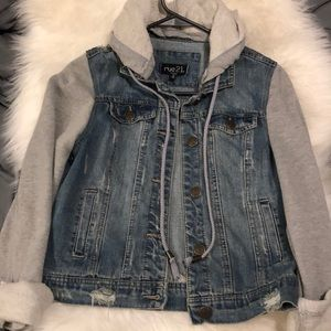 Only worn once hooded jean jacket! Size S